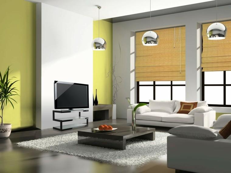 pared salon color verde pistacho