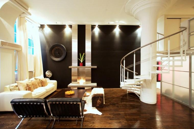 pared sillones negros loft diseno moderno ideas