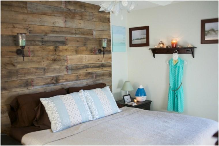 pared cabecero pallet cama madera