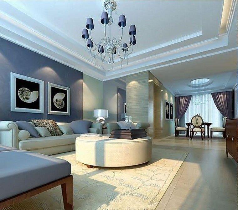 paredes azules salon moderno otomana redonda ideas