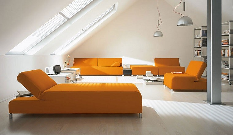 paredes blancas sofa naranja salon moderno ideas