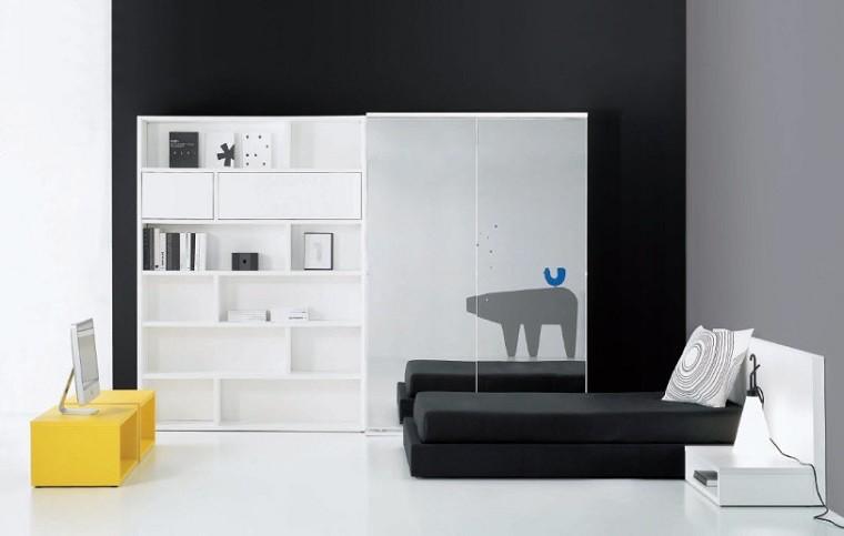 paredes gris contraste armario minimalista