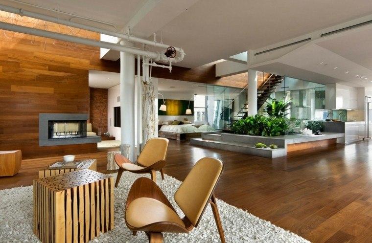 Decoraci n loft 50 ideas para espacios amplios - Suelo madera jardin ...