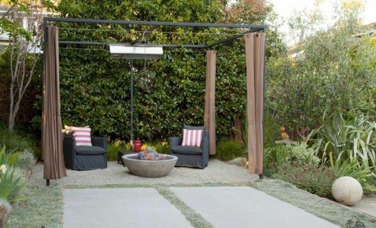 patio cojines confort rayas pergola