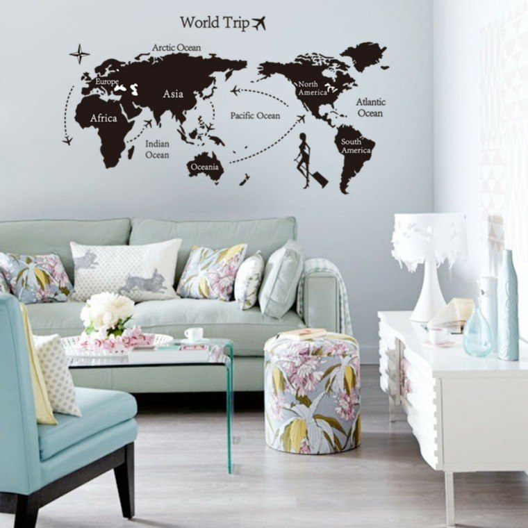 pegatinas pared blanca salon moderno mapa mundo ideas