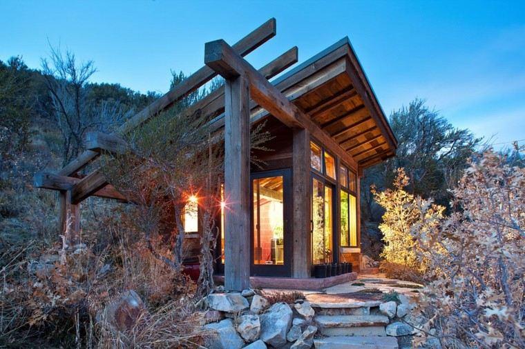 fachadas de casas rusticas pequeña cabaña diseño moderna madera