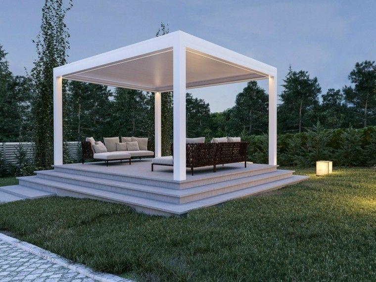 pergola blanca grande jardin muebles comodos ideas