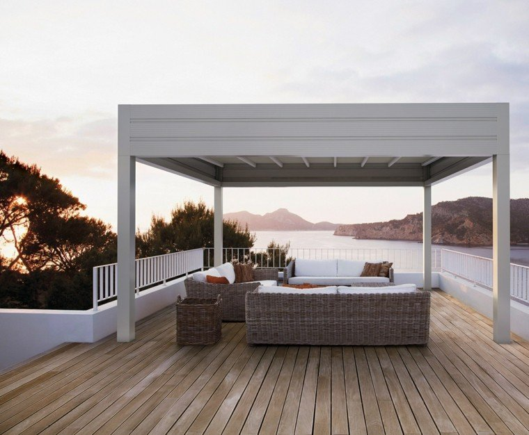 pergola blanca terraza moderna muebles mimbre ideas