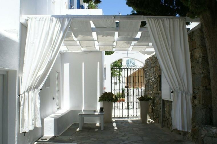 pergolas cenadores cortinas blancas