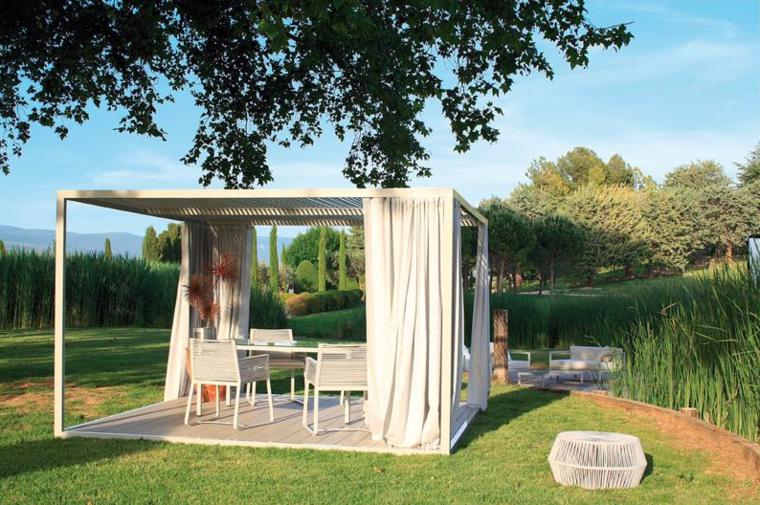 pergola jardin diseño moderno cortinas