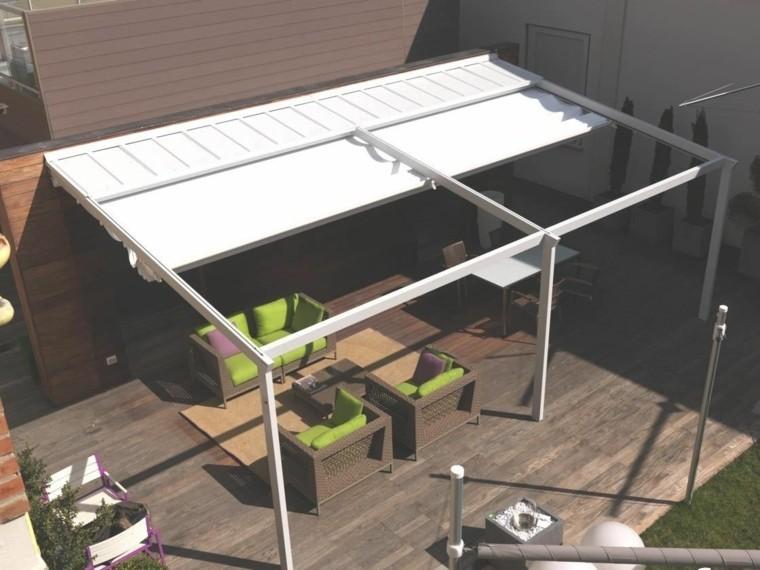 pergola jardin muebles rattan cojines verdes ideas
