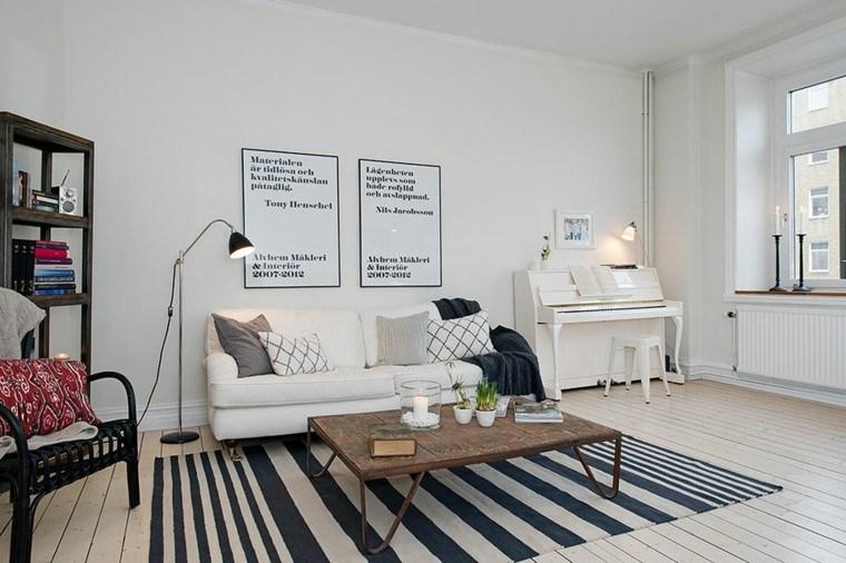 piano blanco sofa salon alfombra rayas ideas
