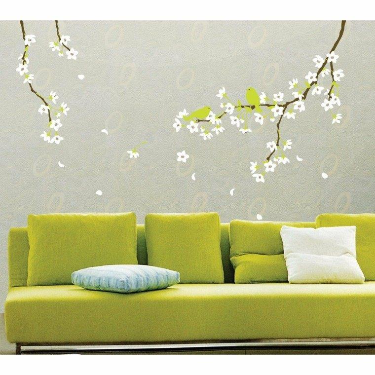 diseño pared flores blancas