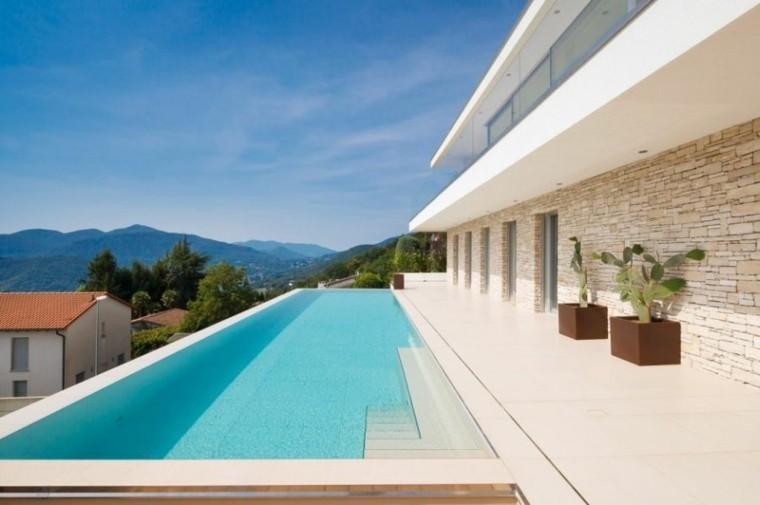 minimalist pool design steel planters