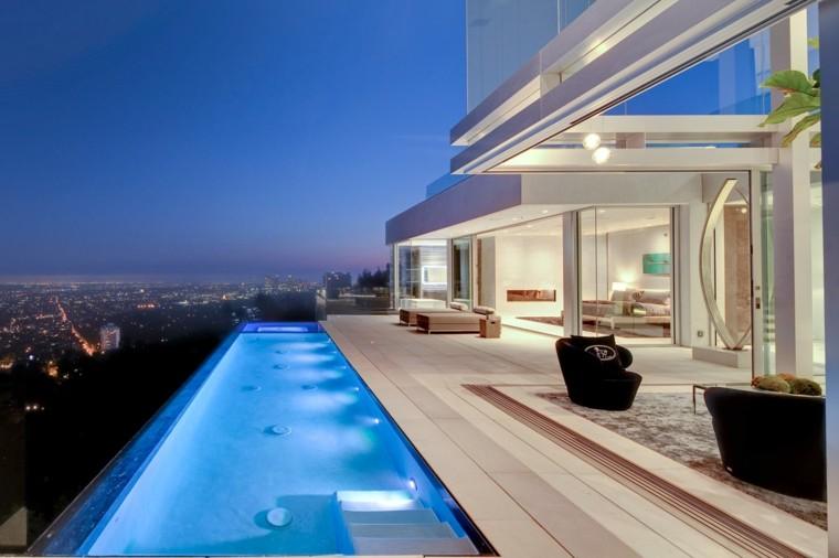 pool design city view lights