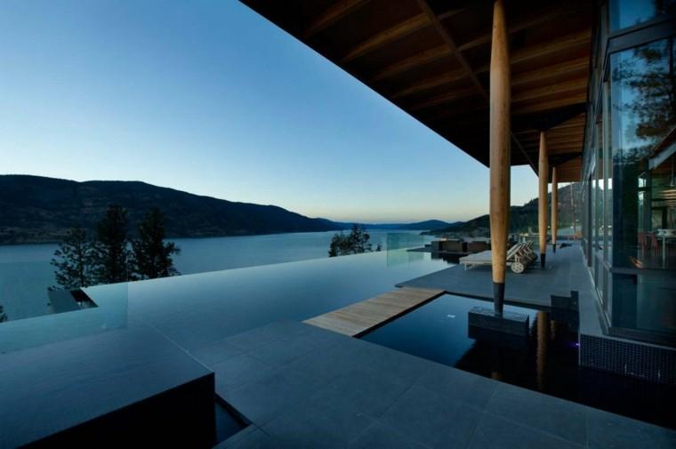 pool design columns mountains lake