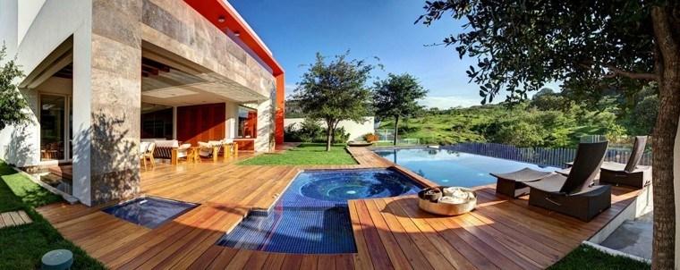 pool design wood infinity terrace
