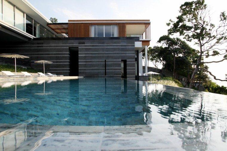 pool design modern white umbrellas