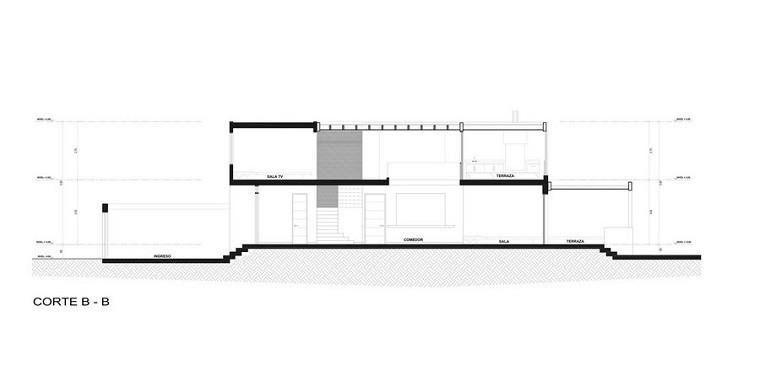 plano casa corte be diseño