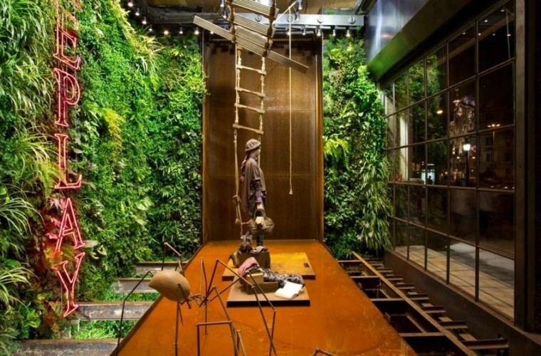 plantas tienda diferente madera estatua