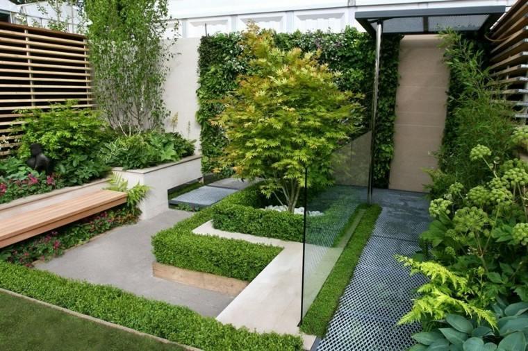 plantas verde patio listones jardin