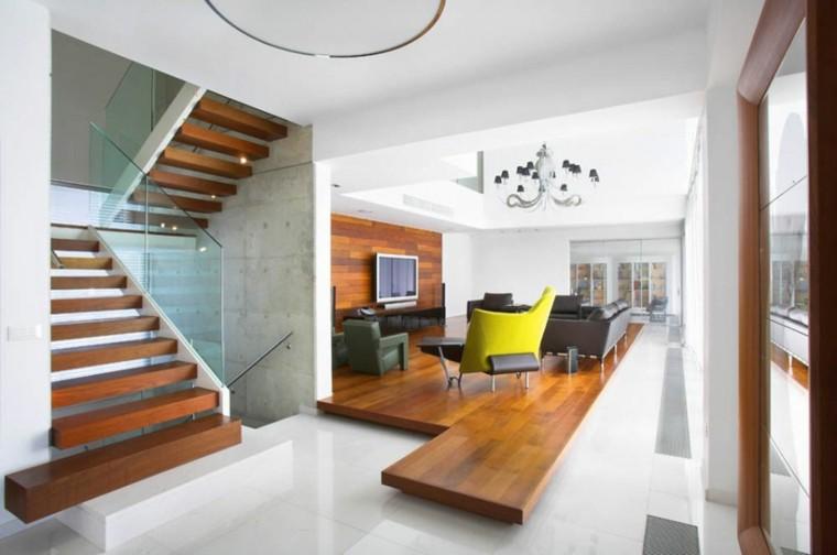 plataforma madera salon estilo moderno