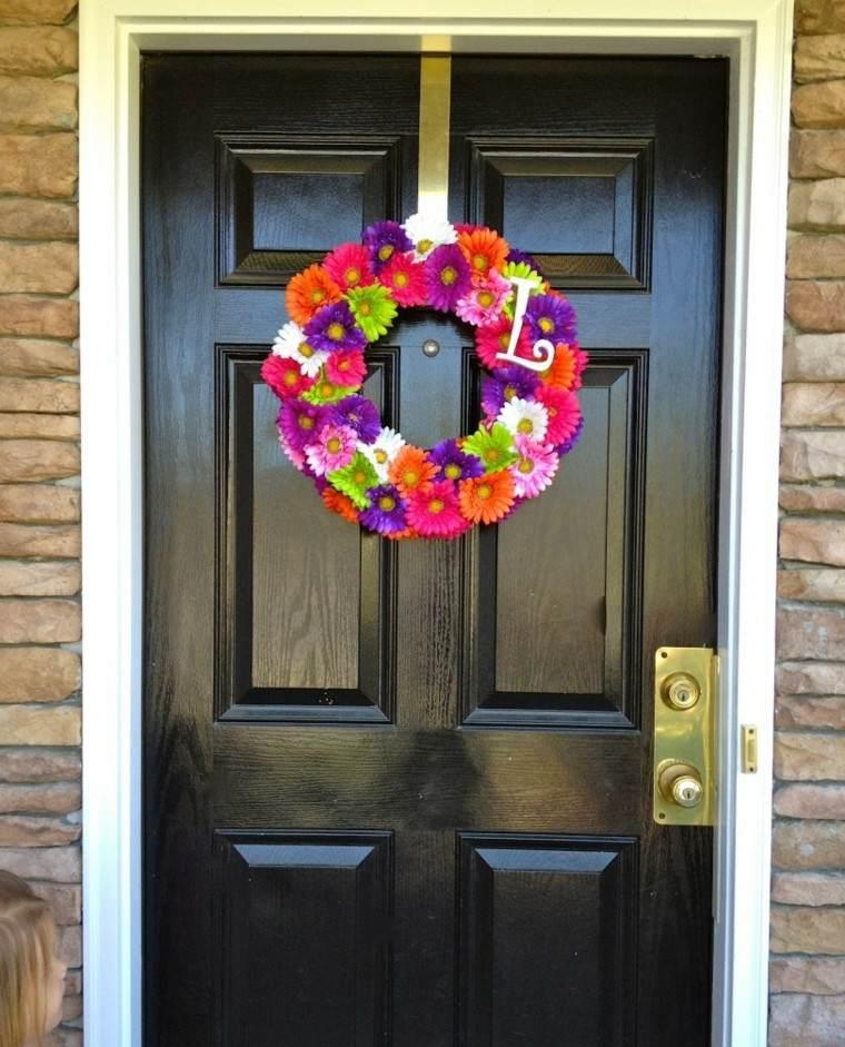 puertas decoracion colorido corona circular