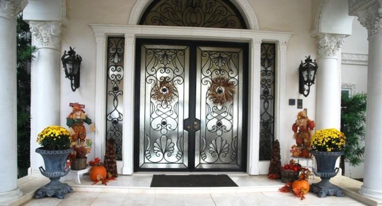 puertas decoracion plantas paja amarilo