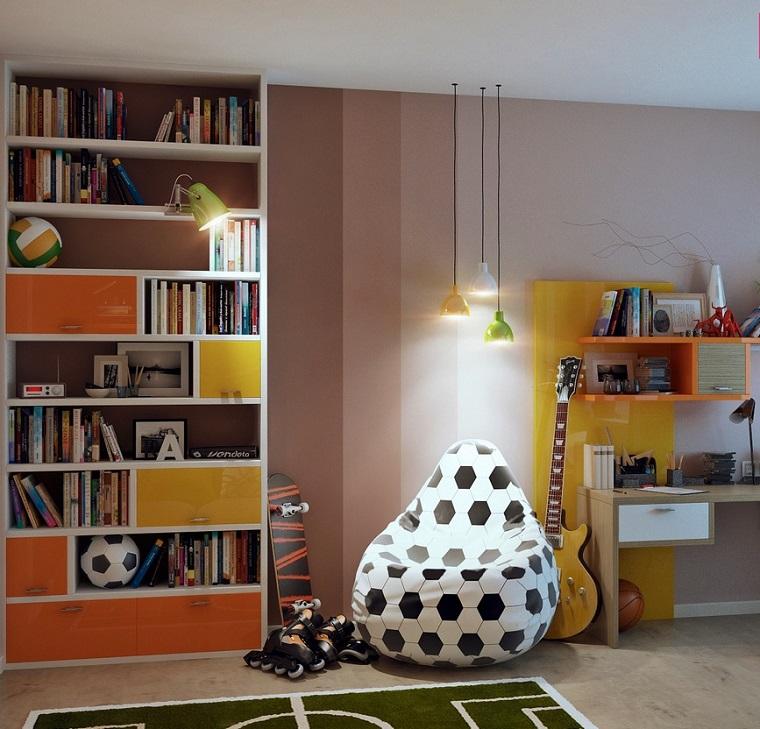puff colores pelota furbol decora dormitorio nino ideas