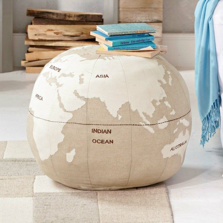 puff estampa globo decorativo color beige comodo ideas