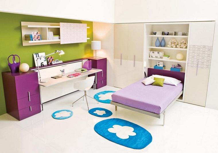 purpura escritorio alfombras bonitas dormitorio adolescente ideas