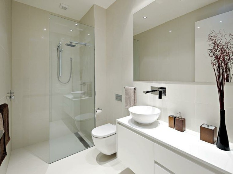 ramas moderno baño blanco jarron
