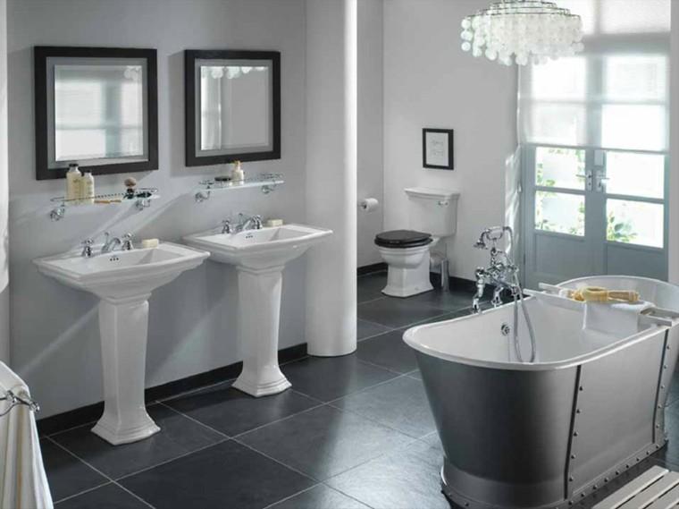 reformas de baños doble lavabo gris