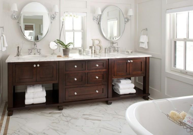 reformas de baños espejos mueble madera