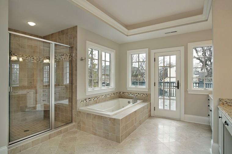 reformas de baños puerta marron amplio