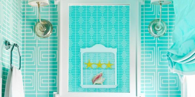 revestimiento baño color azul turquesa