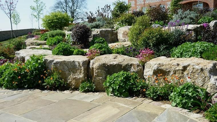roca jardines casa arboles suelo
