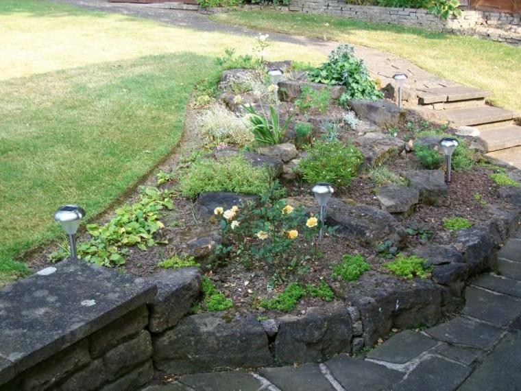 roca jardines lamparas solares pequeñas