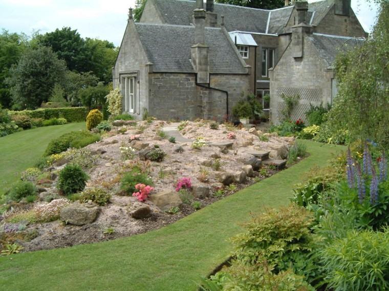 roca jardines monticulo elevaciones casa
