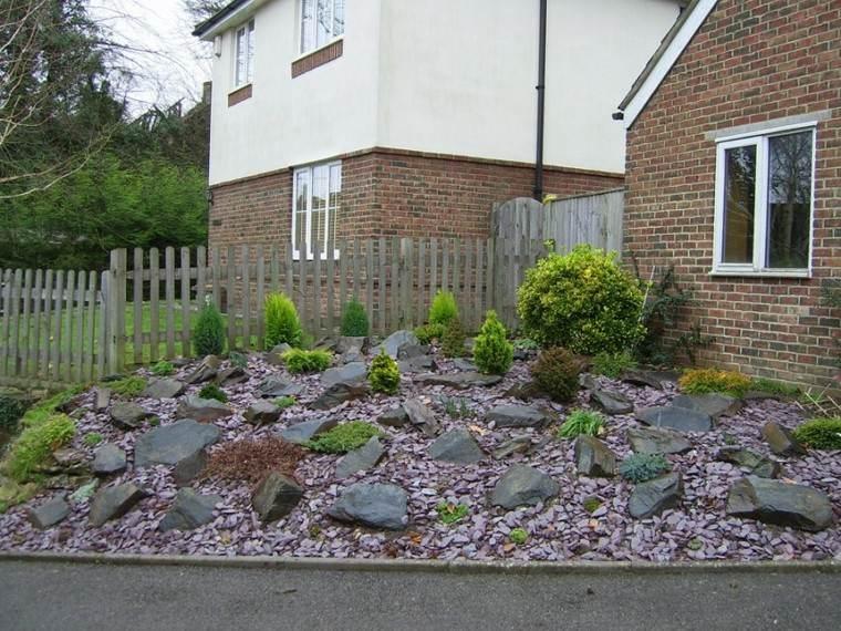 roca jardines muro vallas madera