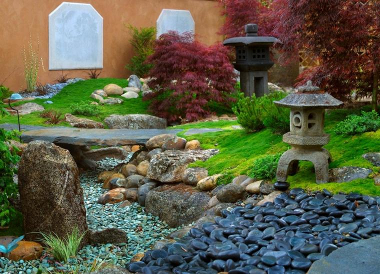 roca jardines rocas lampara japones