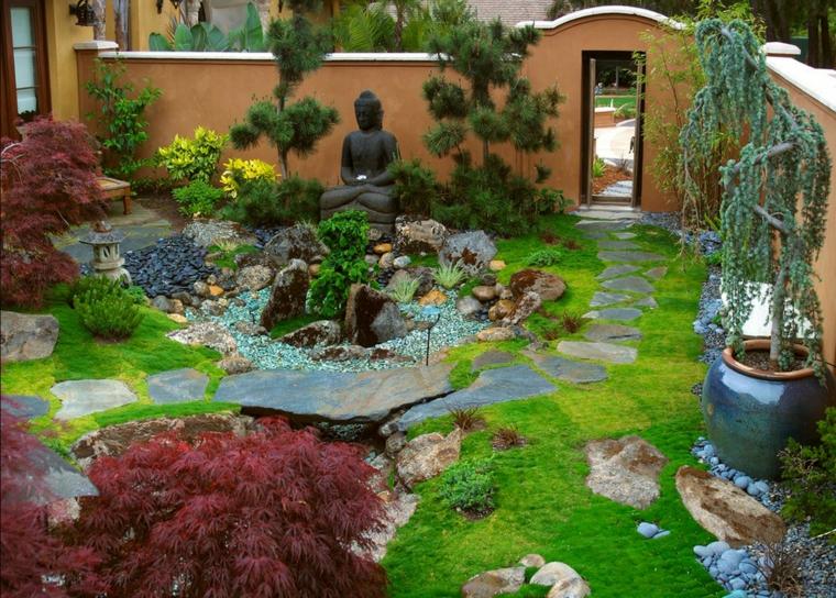 Roca jardines y naturaleza, creando ambientes diferentes.