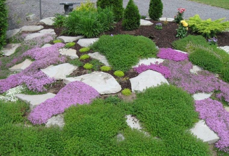 roca jardines rosa banco colorido