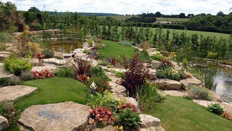 roca jardines senderos agua estanques