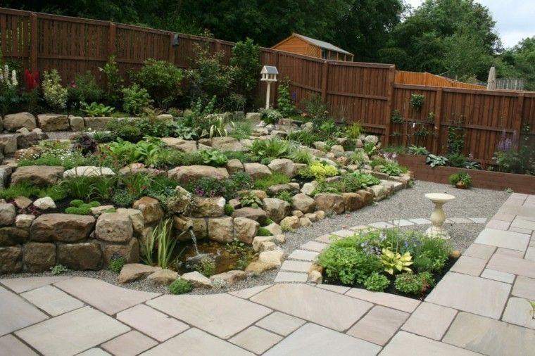roca jardines senderos proyecto muro