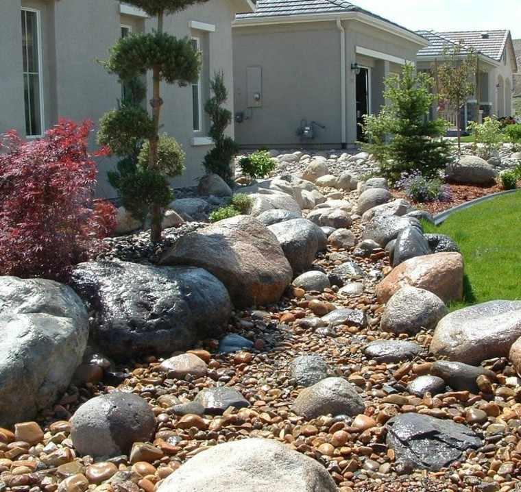 rocas casa exteriores paisajismo flores