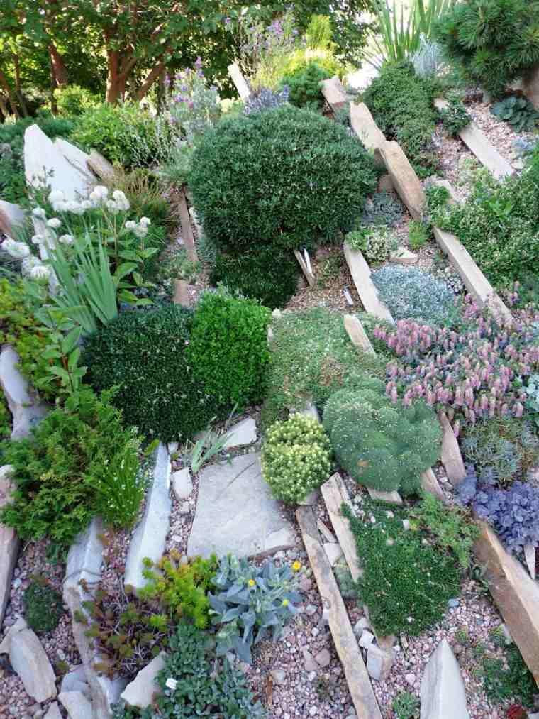 rocas estante madera terraza lajas