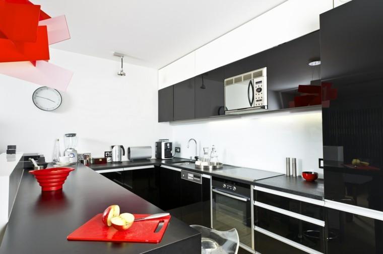 rojo acentos cocina meseta accesorios