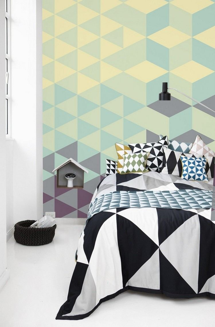 ropa cama papel pared geometrico decorar casa ideas