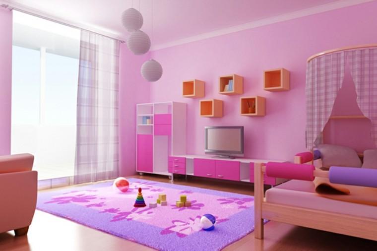 rosa elegante habitacion decorada esferas